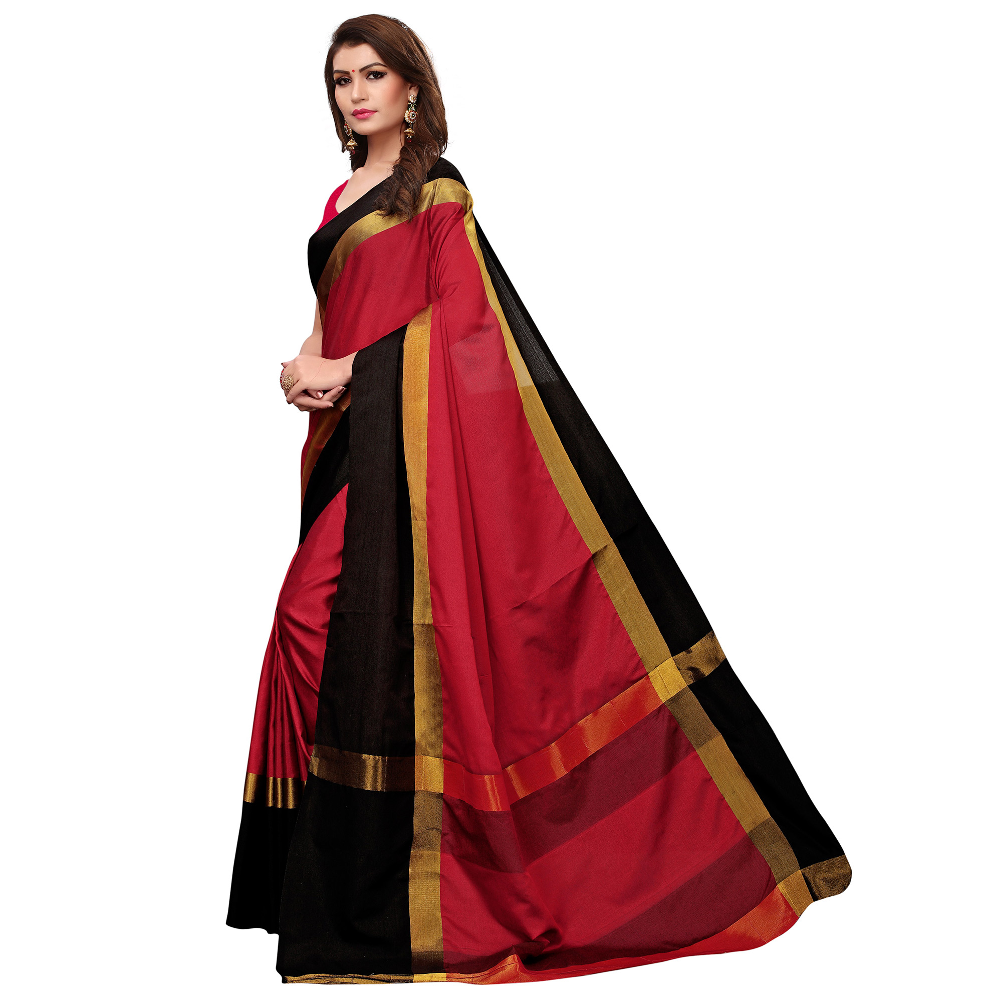 Surpassing Red Colored Festive Wear Tussar Silk Saree