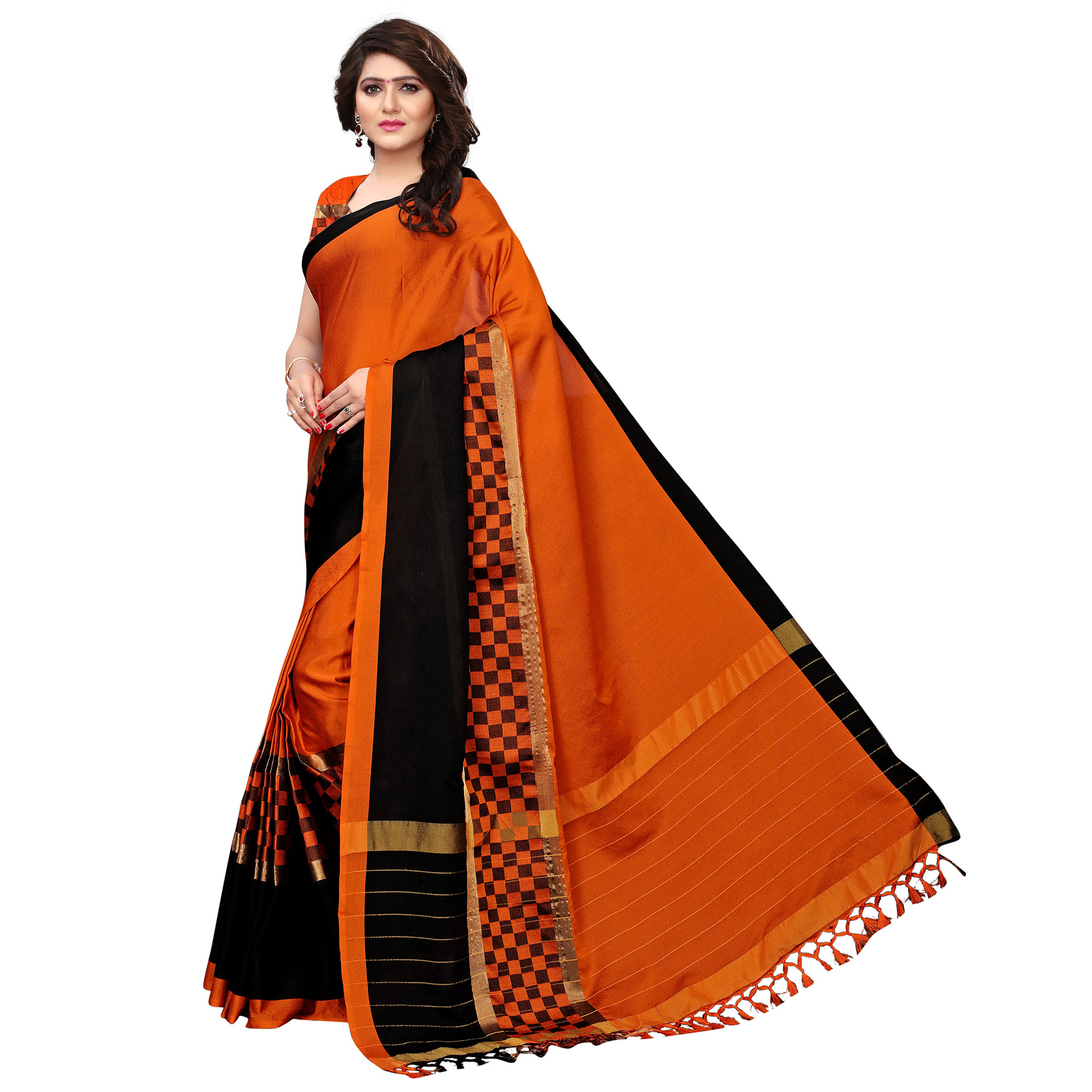 Delightful Orange Colored Festive Wear Tussar Silk Saree