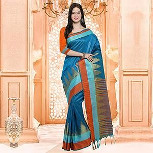 Beautiful Blue Festive Wear Silk Woven Saree