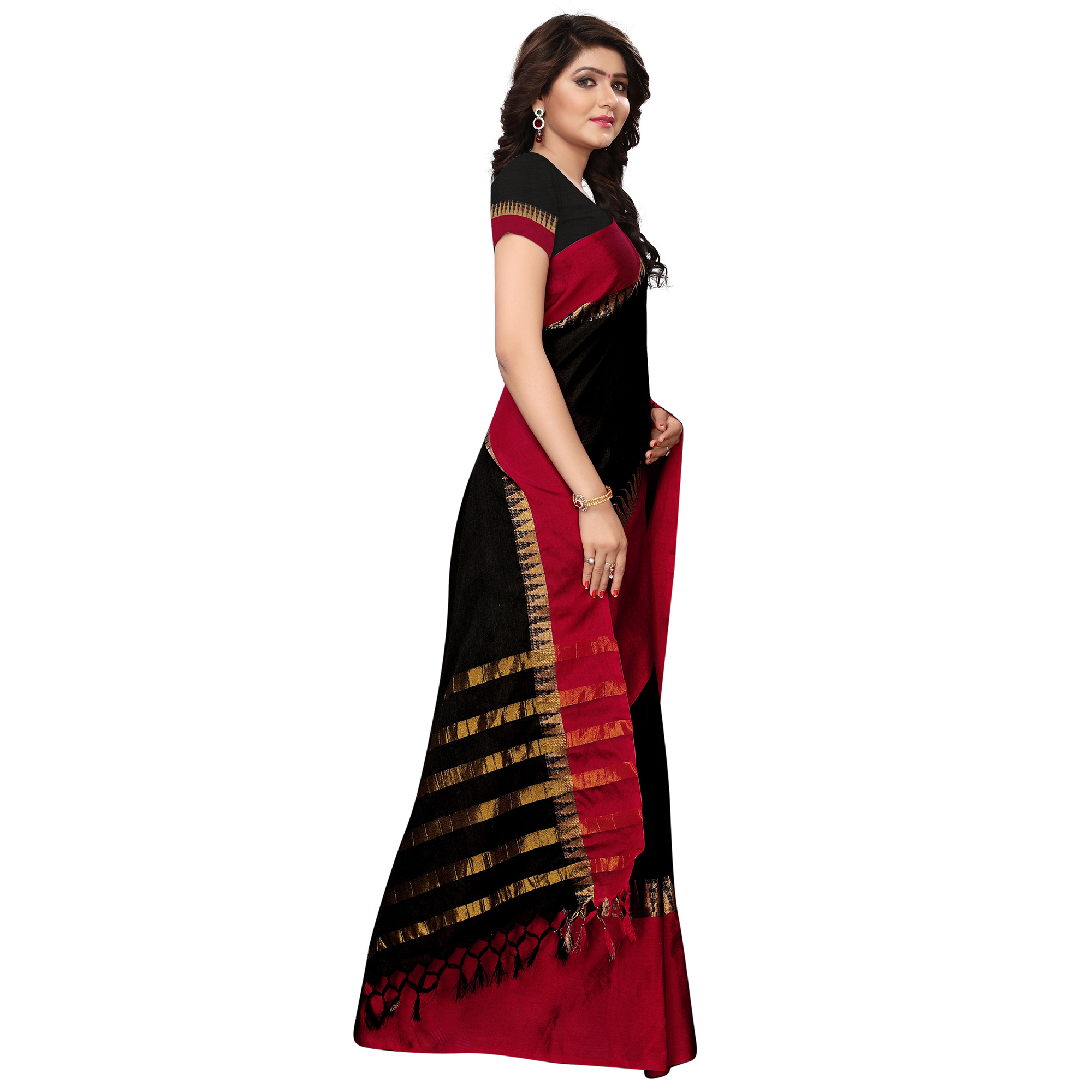 Entrancing Black Colored Festive Wear Tussar Silk Saree