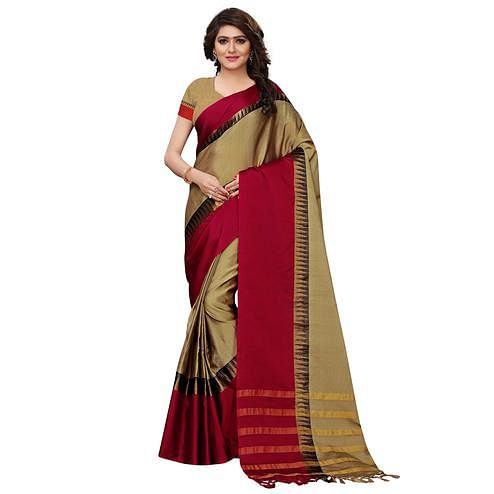 Exotic Chikoo Colored Festive Wear Tussar Silk Saree