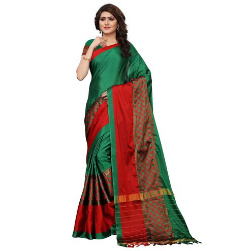 Eye-catching Green Colored Festive Wear Tussar Silk Saree