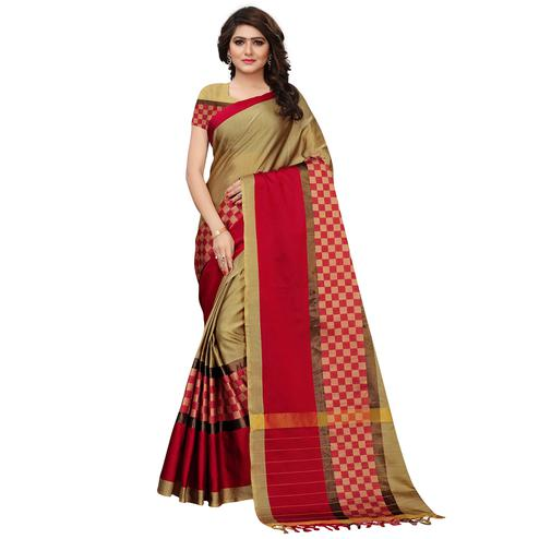 Fantastic Chikoo Colored Festive Wear Tussar Silk Saree