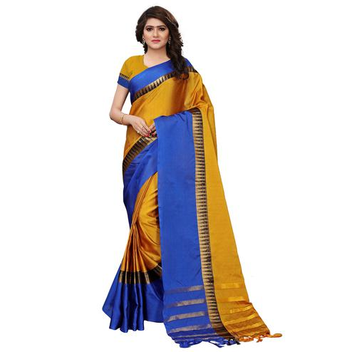Glorious Golden-Blue Colored Festive Wear Tussar Silk Saree
