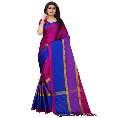 Gorgeous Magenta Colored Festive Wear Tussar Silk Saree