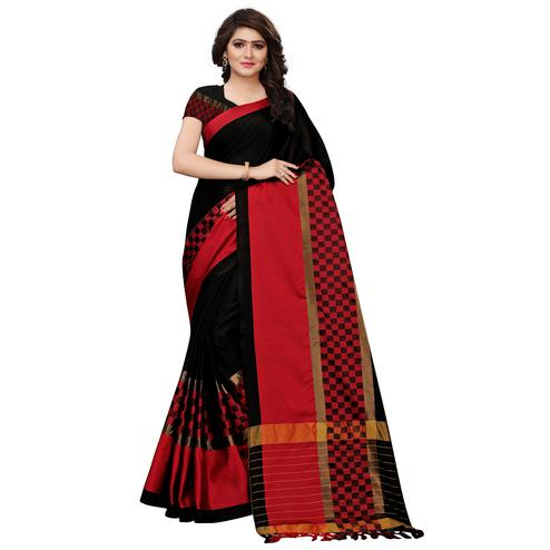 Eye Catching Black Colored Festive Wear Tussar Silk Saree