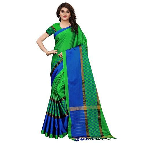 Ideal Green Colored Festive Wear Tussar Silk Saree