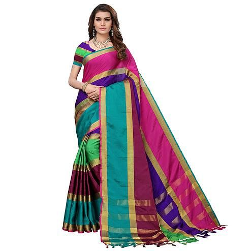 Attractive Multicolored Festive Wear Tussar Silk Saree