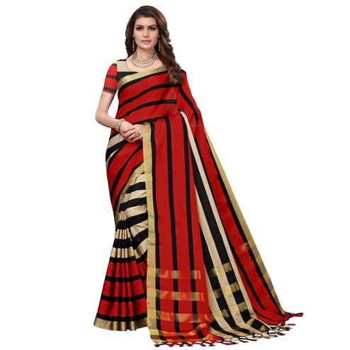 Beautiful Red-Beige Colored Festive Wear Tussar Silk Saree