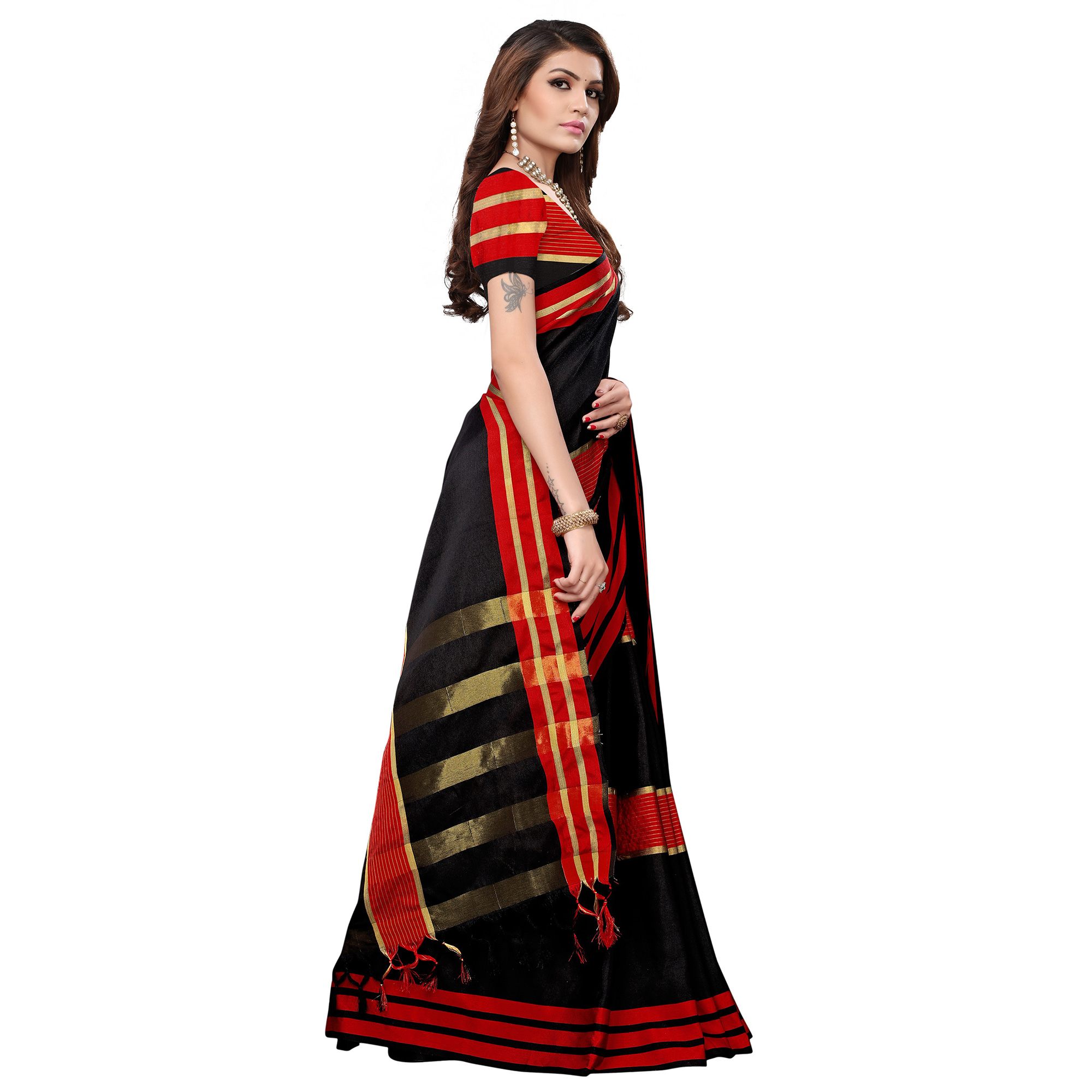 Blissful Black-Red Colored Festive Wear Tussar Silk Saree