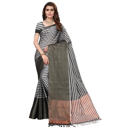Groovy Grey-Black Colored Festive Wear Tussar Silk Saree