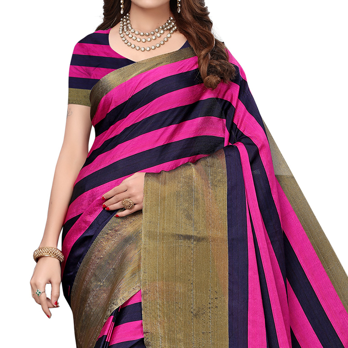 Prominent Dark Pink-Black Colored Festive Wear Tussar Silk Saree