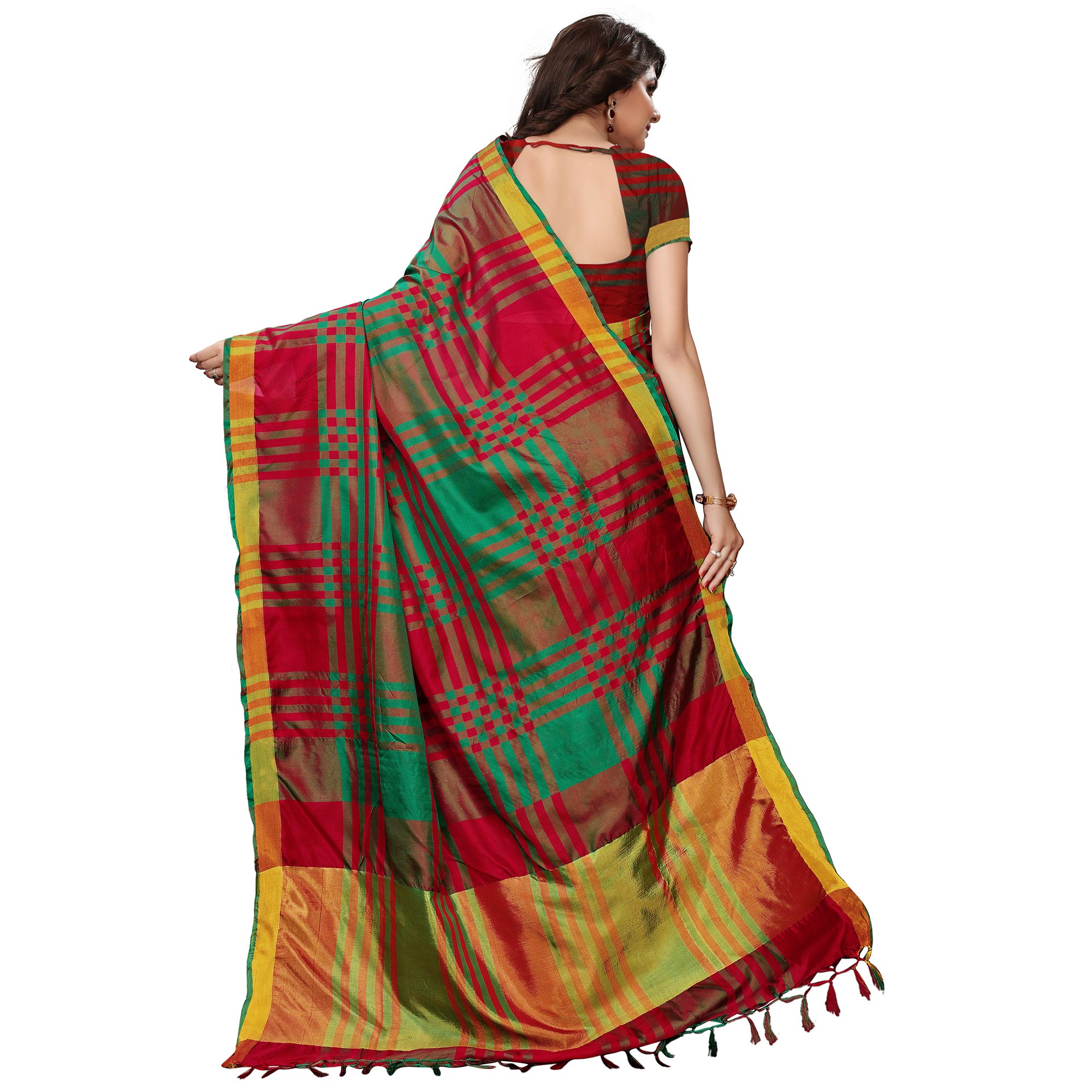 Excellent Red-Green Colored Festive Wear Tussar Silk Saree