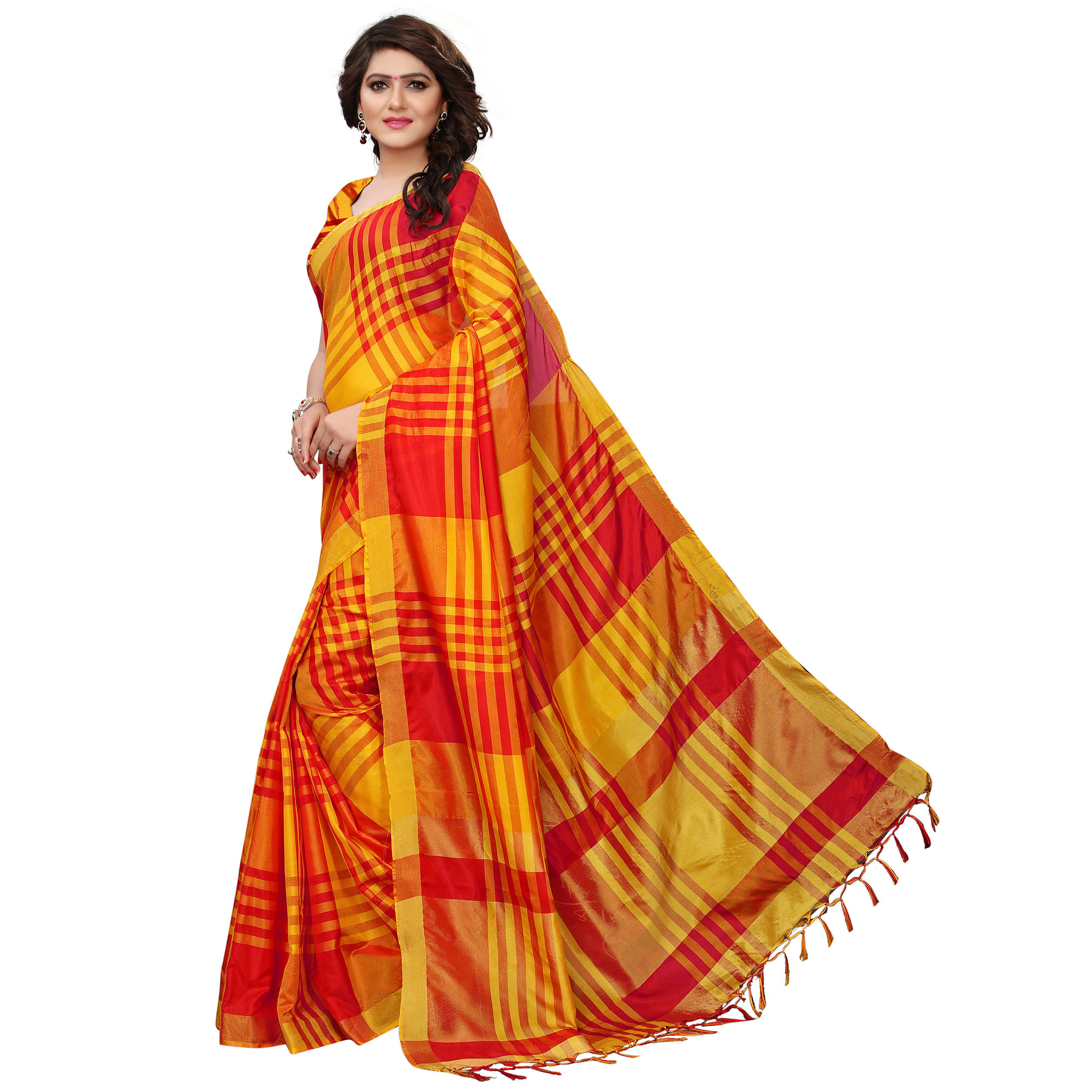 Breathtaking Yellow-Red Colored Festive Wear Tussar Silk Saree