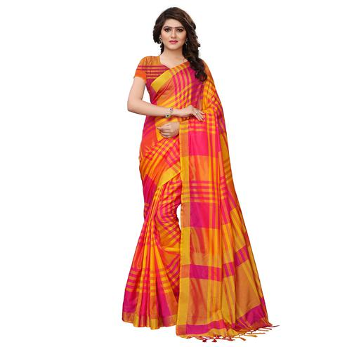 Impressive Yellow-Pink Colored Festive Wear Tussar Silk Saree