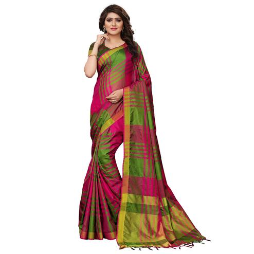Flamboyant Green-Pink Colored Festive Wear Tussar Silk Saree