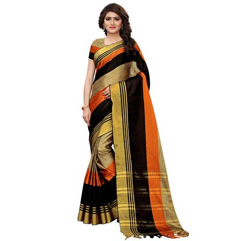 Ethnic Chikoo-Orange Colored Festive Wear Tussar Silk Saree