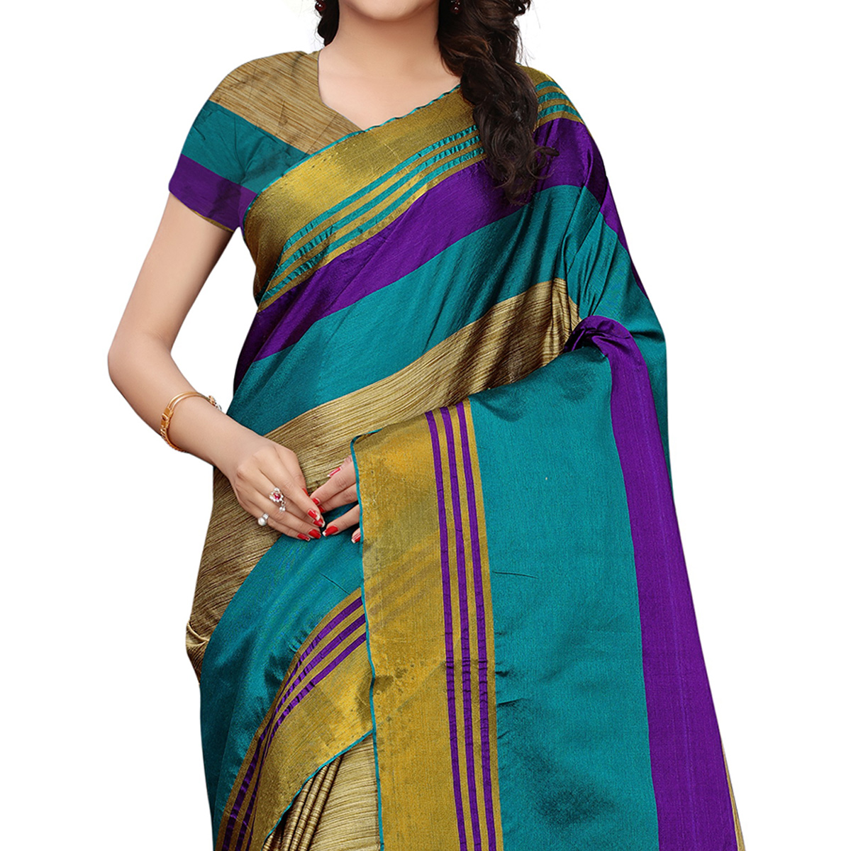 Alluring Chikoo-Teal Blue Colored Festive Wear Tussar Silk Saree