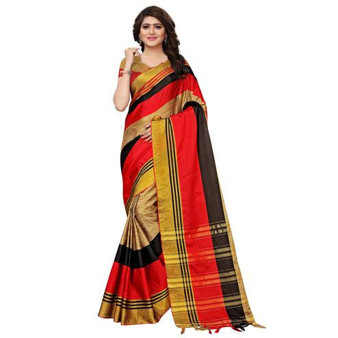 Sensational Chikoo-Red Colored Festive Wear Tussar Silk Saree