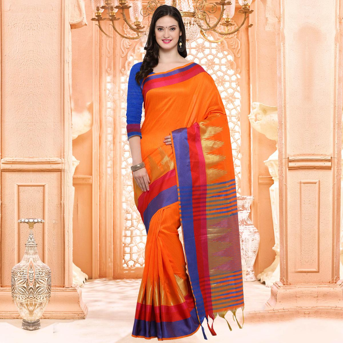Beautiful Orange Festive Wear Silk Woven Saree