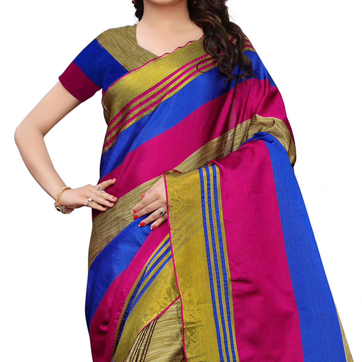 Flaunt Chikoo-Pink Colored Festive Wear Tussar Silk Saree