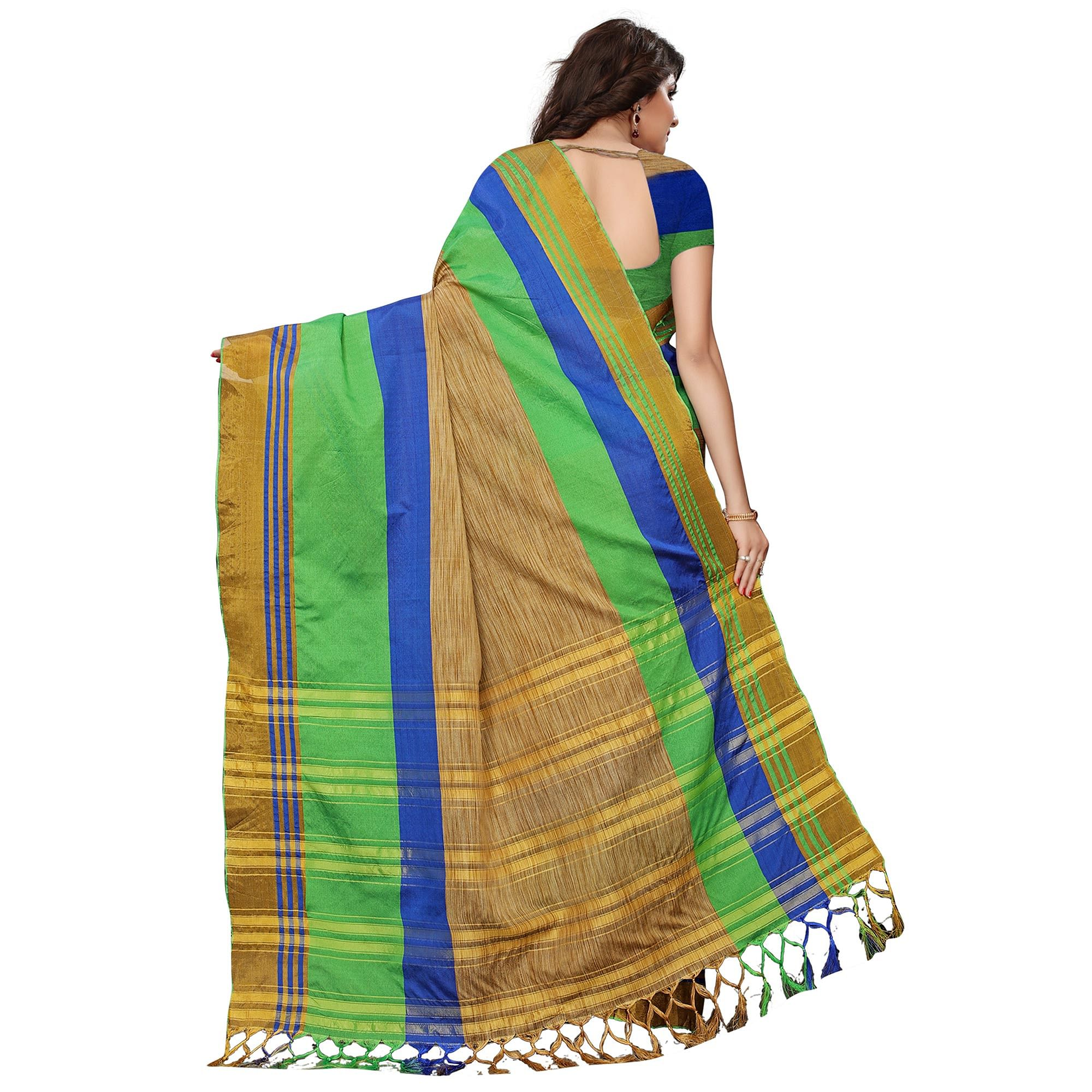 Dazzling Chikoo-Green Colored Festive Wear Tussar Silk Saree