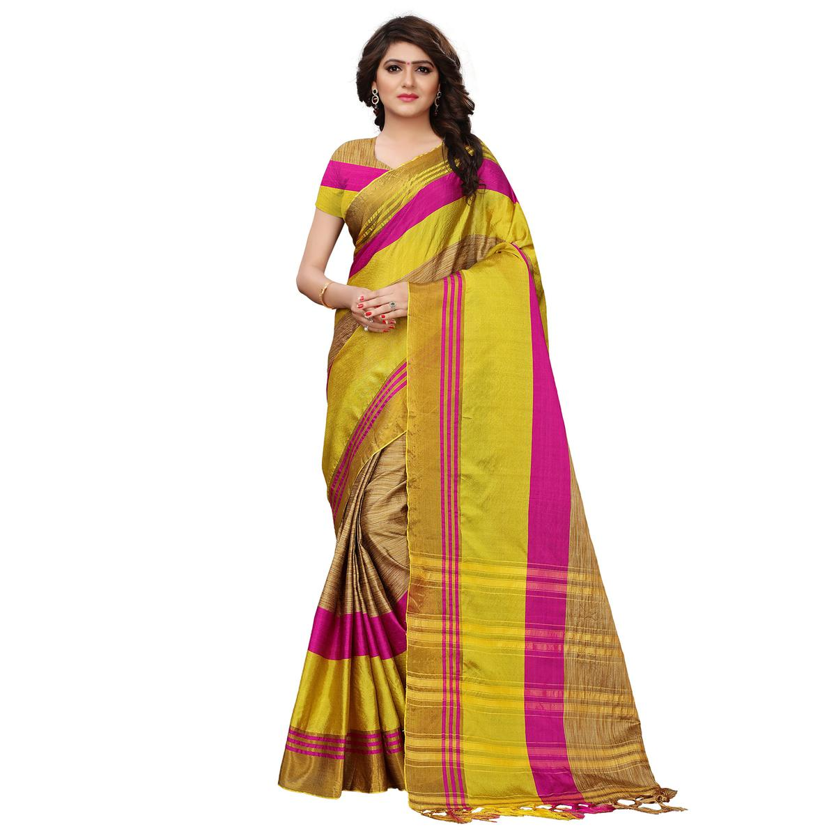 Flirty Chikoo-Yellow Colored Festive Wear Tussar Silk Saree