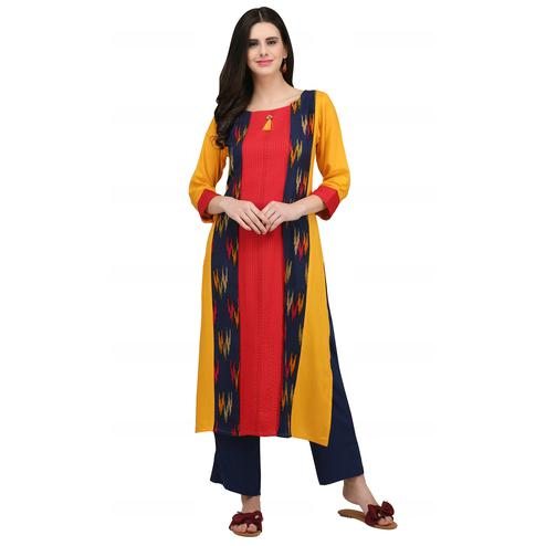 Intricate Yellow - Red Colored Casual Wear Printed Rayon Kurti