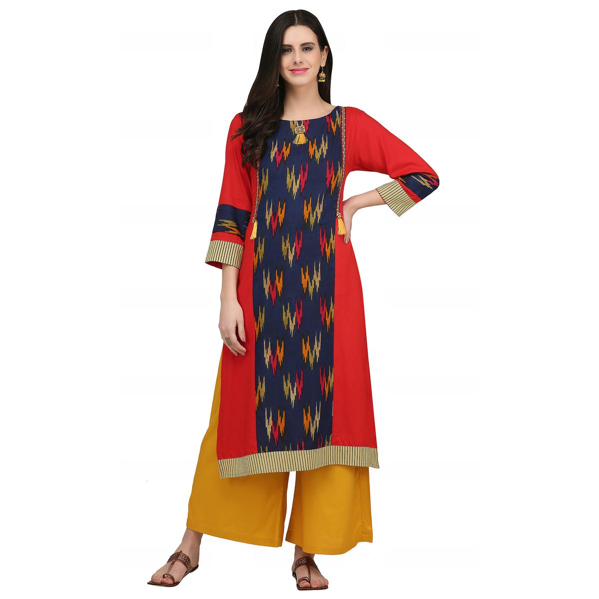 Arresting Red - Navy Blue Colored Casual Wear Printed Rayon Kurti