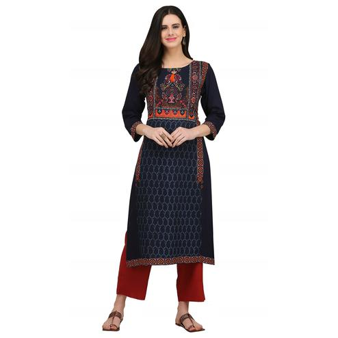 Desirable Navy Blue Colored Casual Wear Printed Rayon Kurti