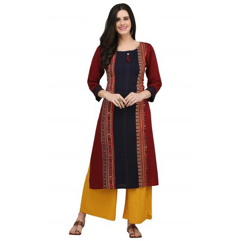 Sophisticated Maroon - Navy Blue Colored Casual Wear Printed Rayon Kurti