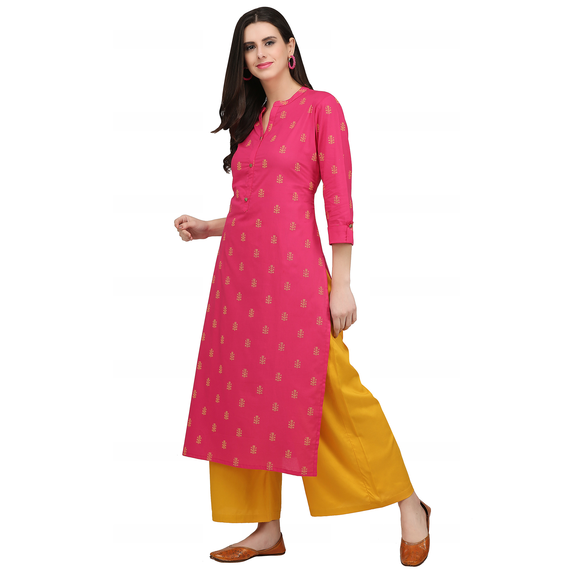 Trendy Pink Colored Casual Wear Printed Cotton Kurti