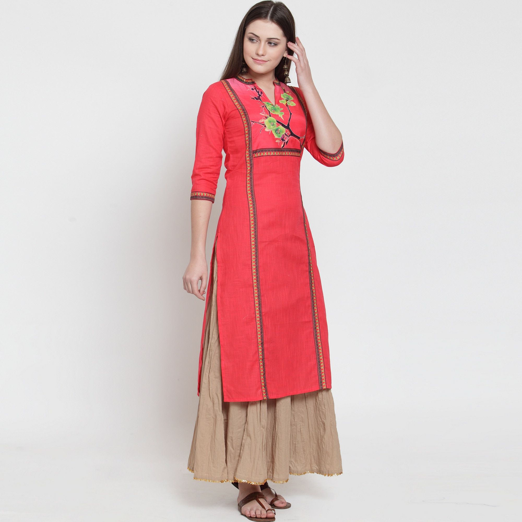 Flattering Gajri Colored Casual Wear Printed Rayon Kurti