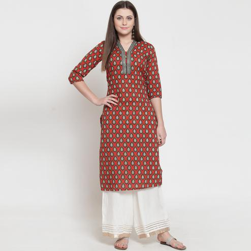 Radiant Red Colored Casual Wear Printed Rayon Kurti