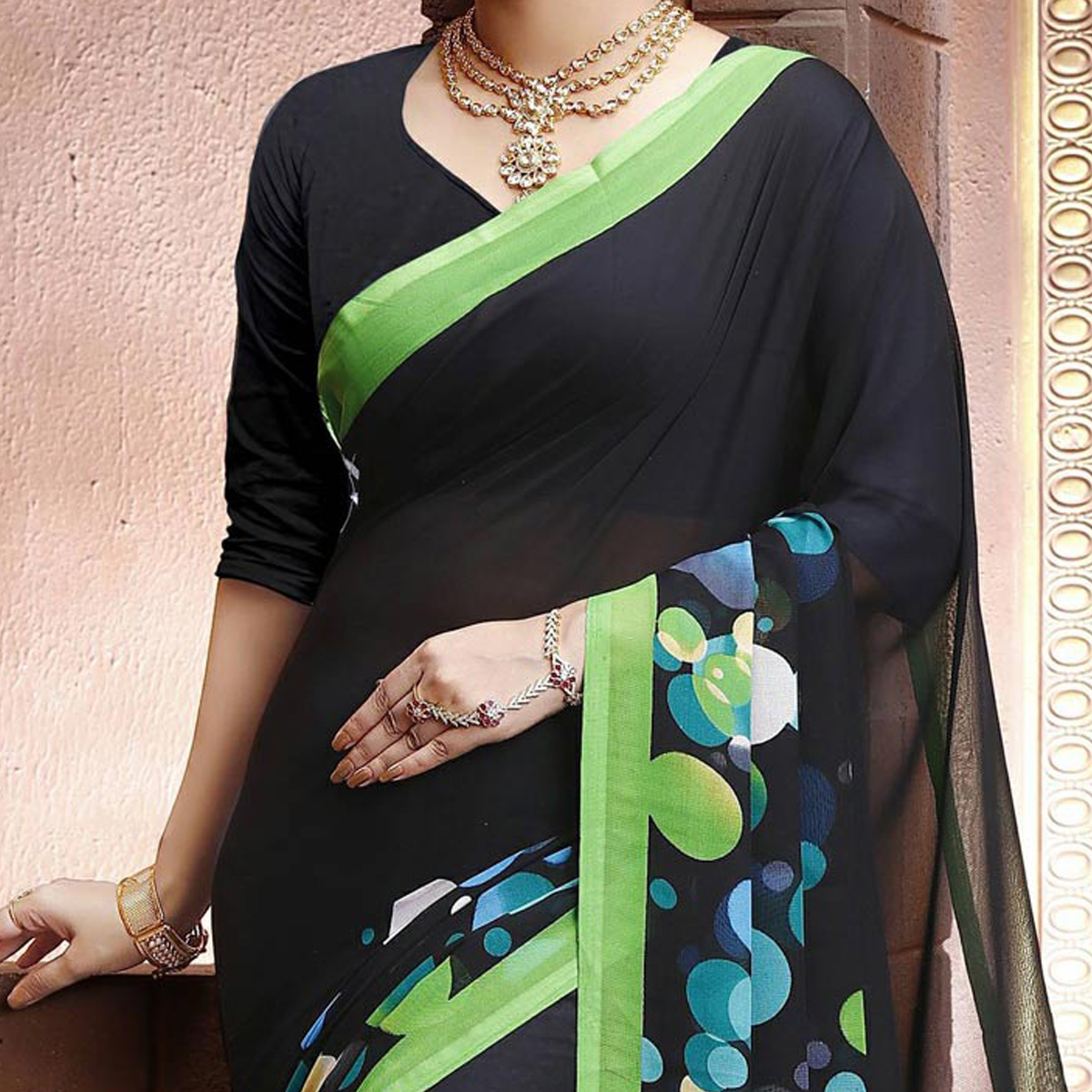 Black Geometric Print Georgette Saree