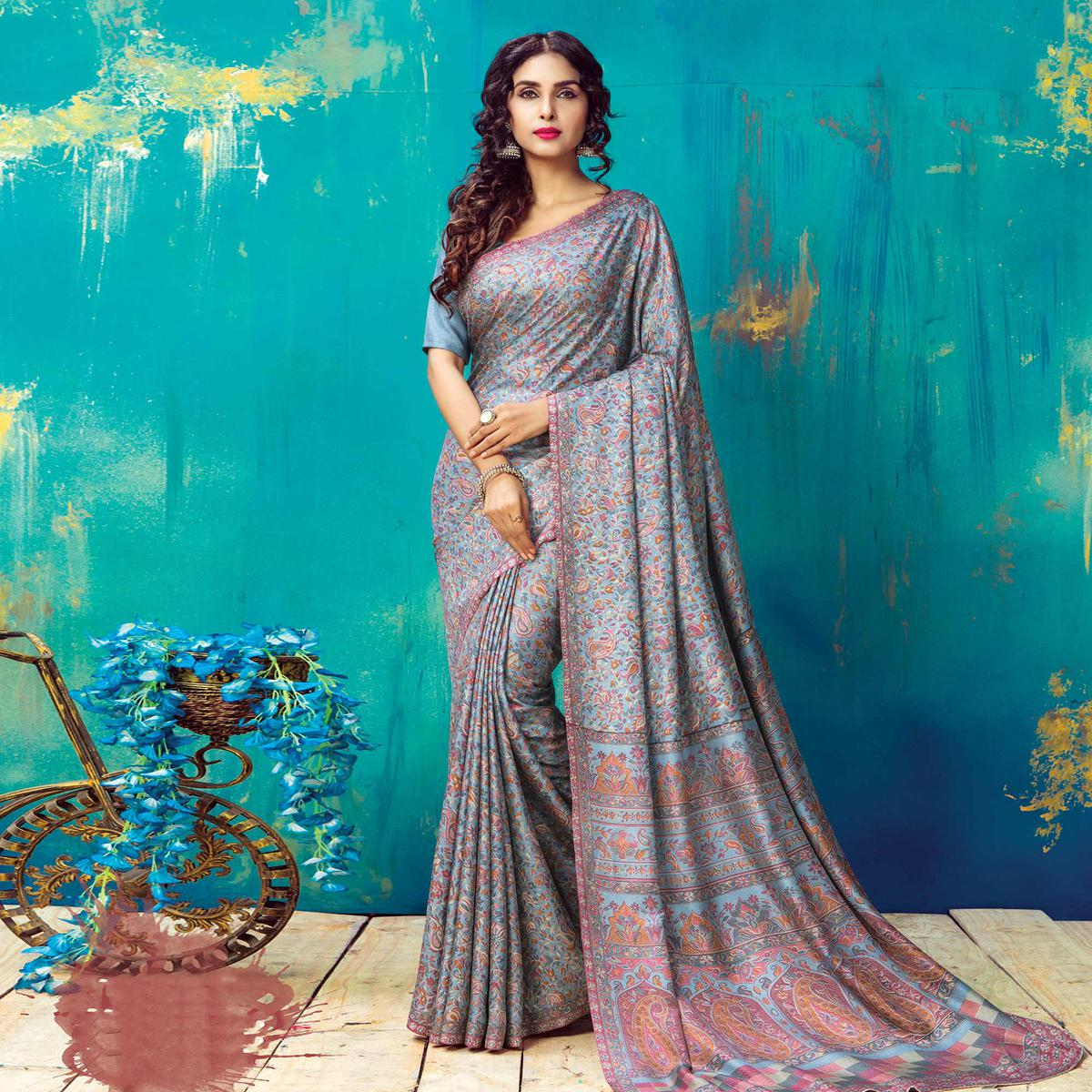 Graceful Grey Pashmina Silk Printed Saree