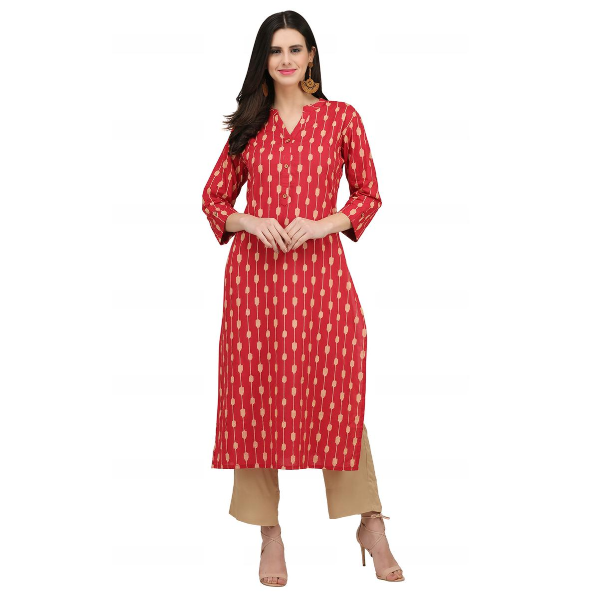 Energetic Crimson Red Colored Casual Wear Printed Cotton Kurti