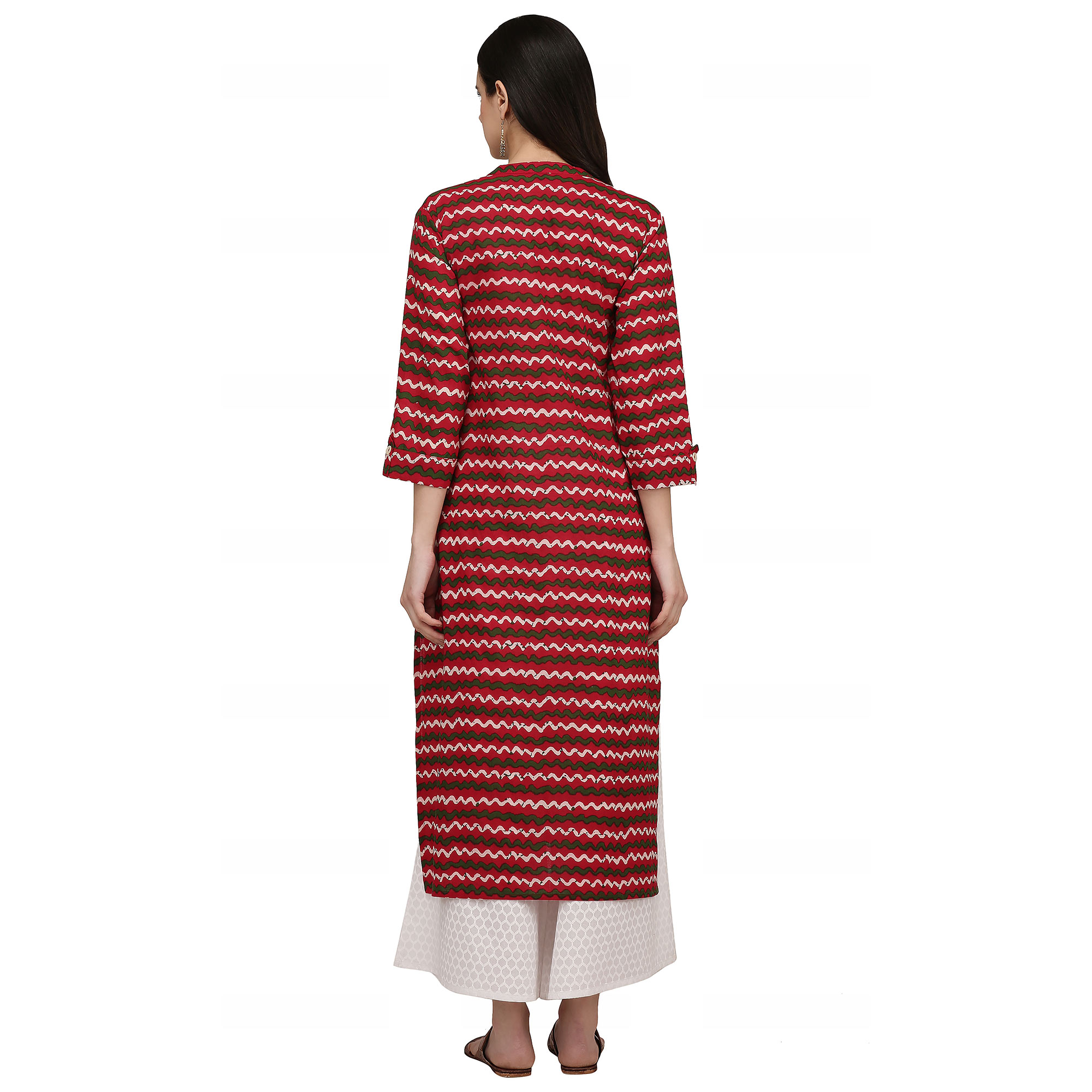 Glowing Red Colored Casual Wear Printed Cotton Kurti