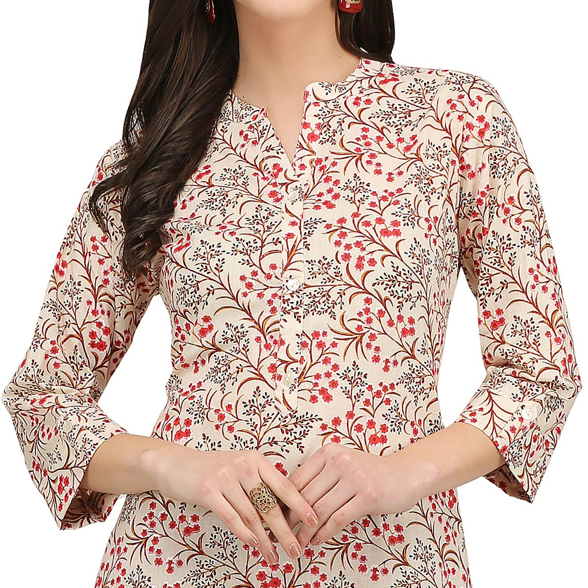 Exceptional Cream Colored Casual Wear Printed Cotton Kurti