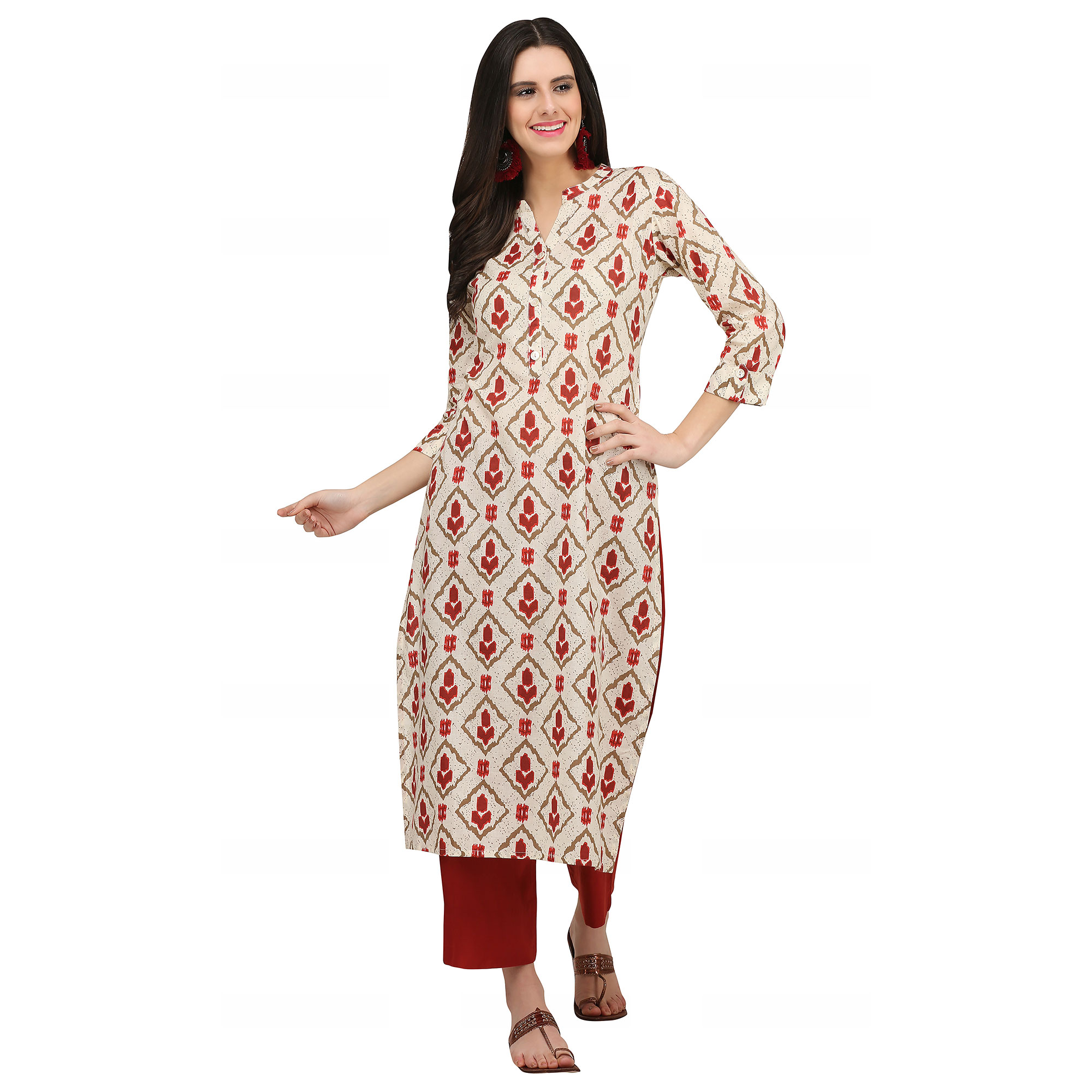 Gleaming Cream Colored Casual Wear Printed Cotton Kurti