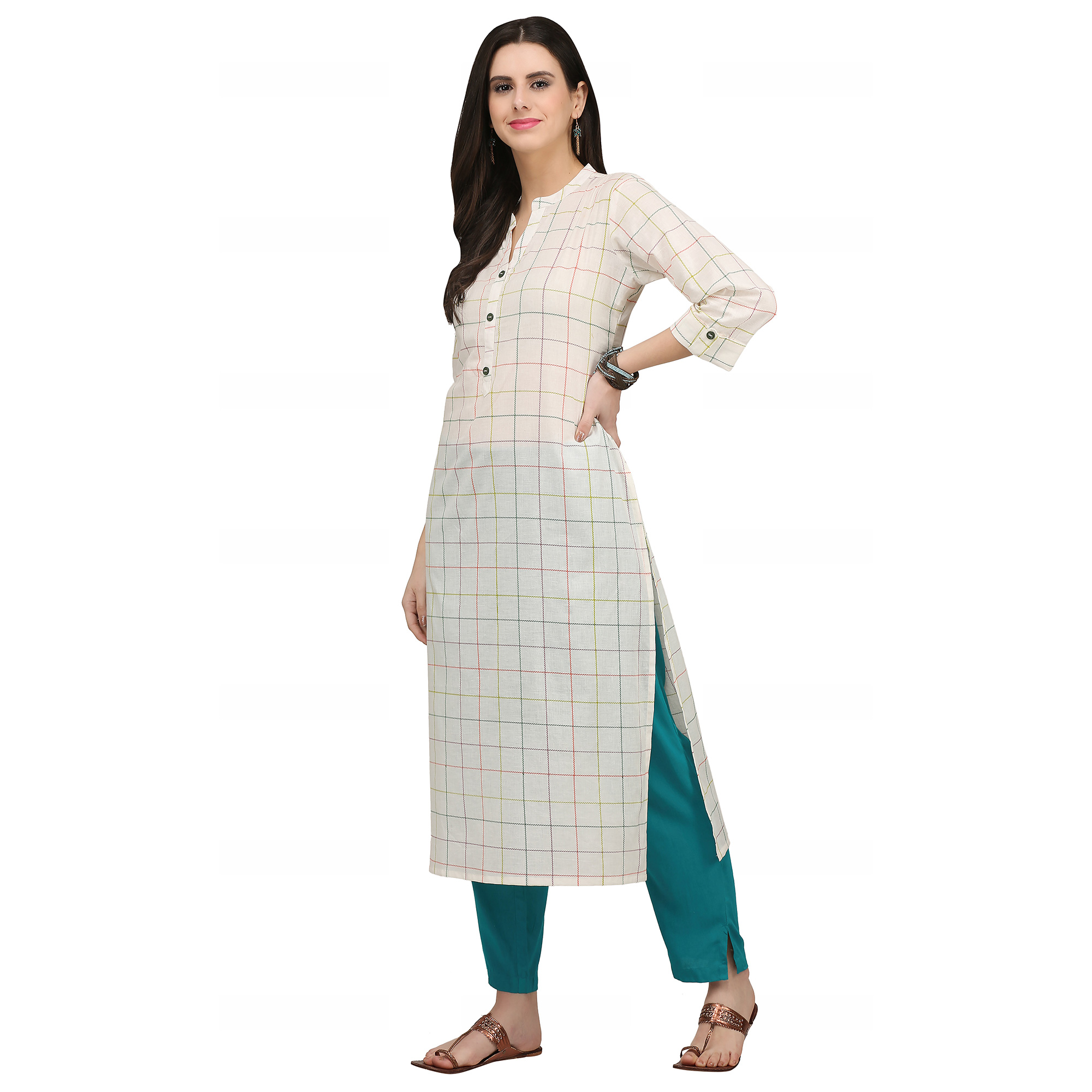Mesmeric Off White Colored Casual Wear Printed Cotton Kurti