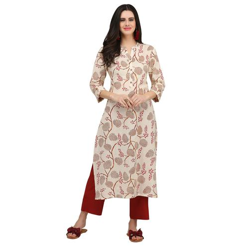 Unique Cream Colored Colored Casual Wear Printed Cotton Kurti