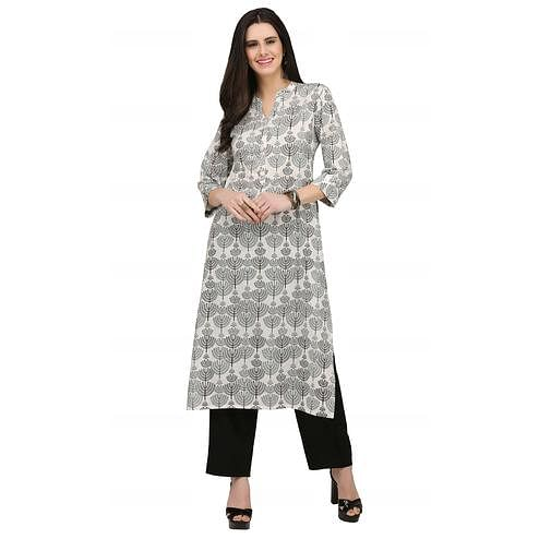 Demanding Grey Colored Casual Wear Printed Cotton Kurti