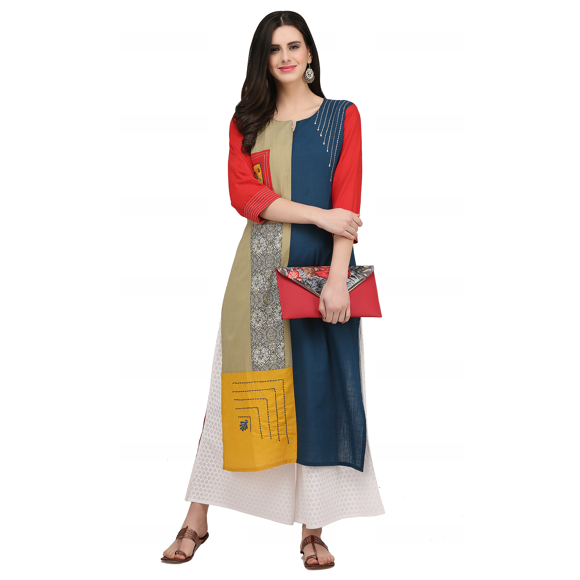 Refreshing Multi Colored Casual Wear Printed Cotton Kurti