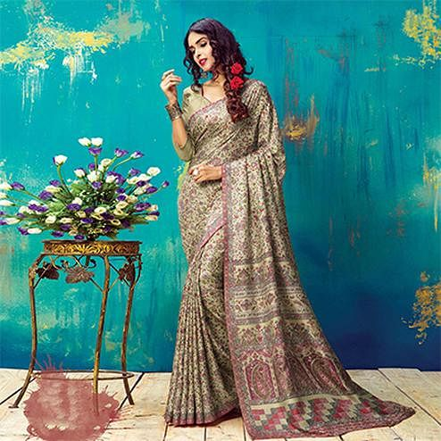 Beautiful Beige Pashmina Silk Printed Saree