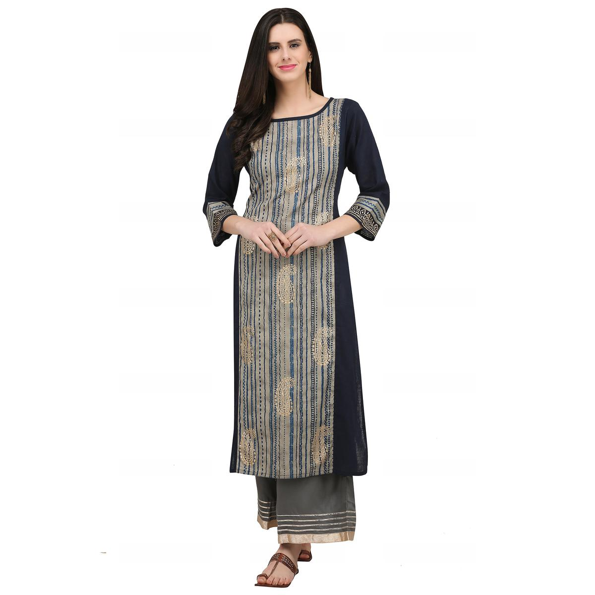 Magnetic Blackish Blue Colored Casual Wear Printed Cotton Kurti