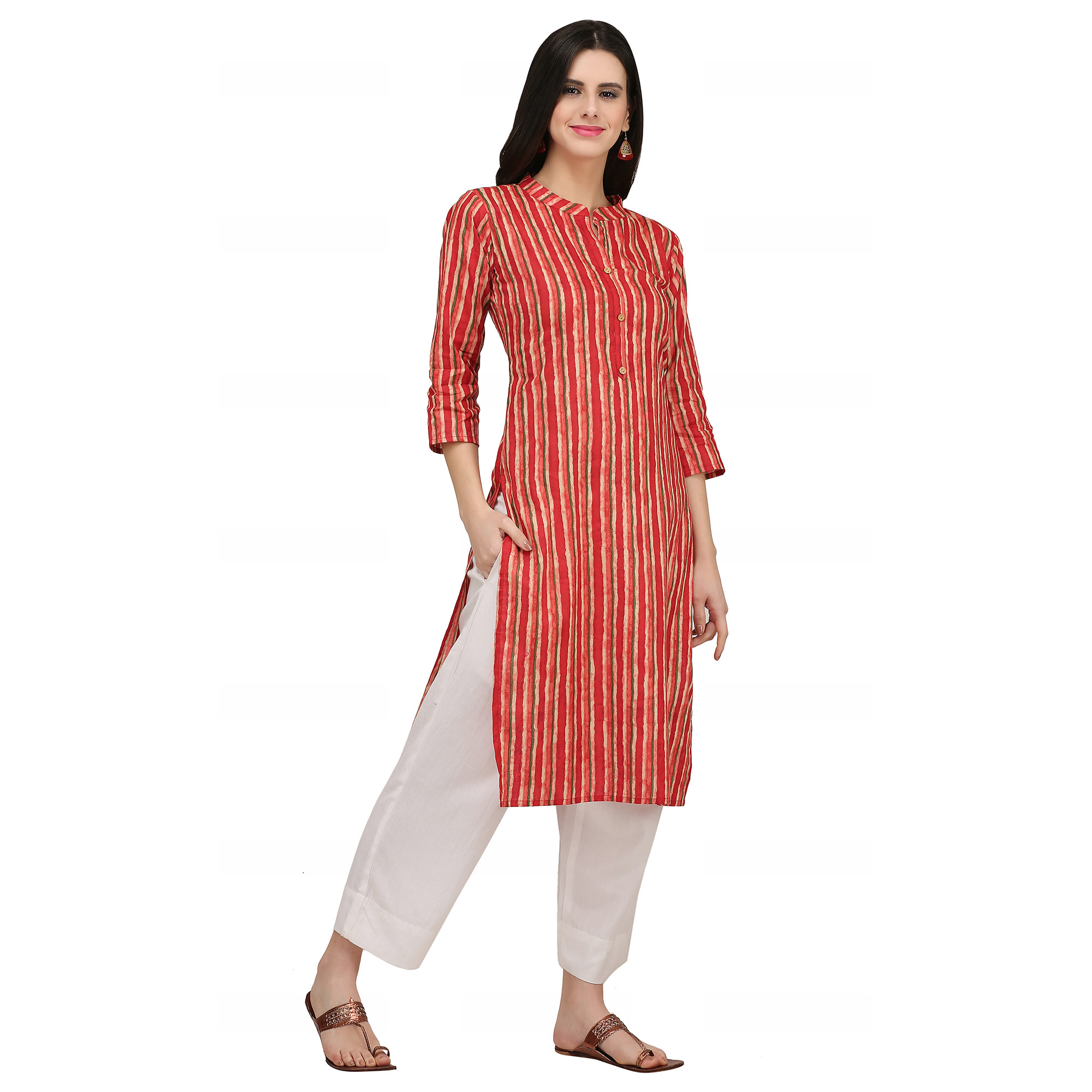 Hypnotic Red Colored Casual Wear Printed Cotton Kurti