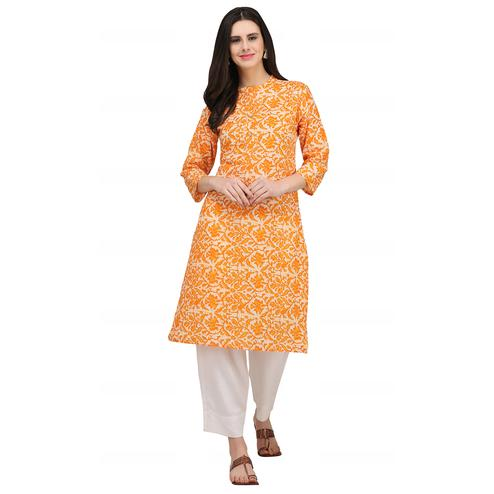 Elegant Yellow Colored Casual Wear Printed Cotton Kurti