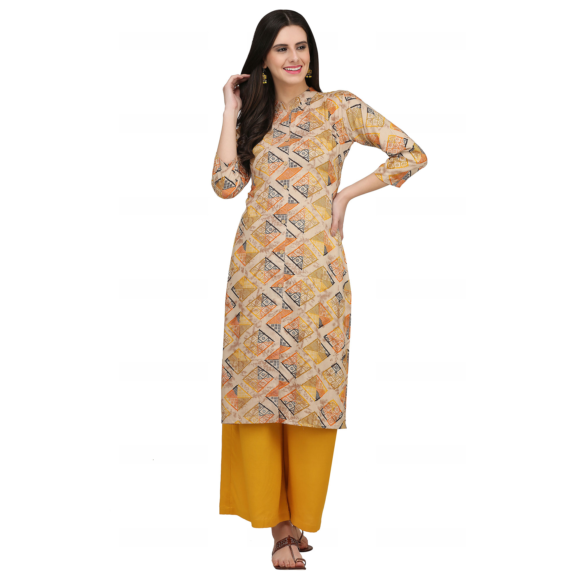 Excellent Beige Colored Casual Wear Printed Rayon Kurti