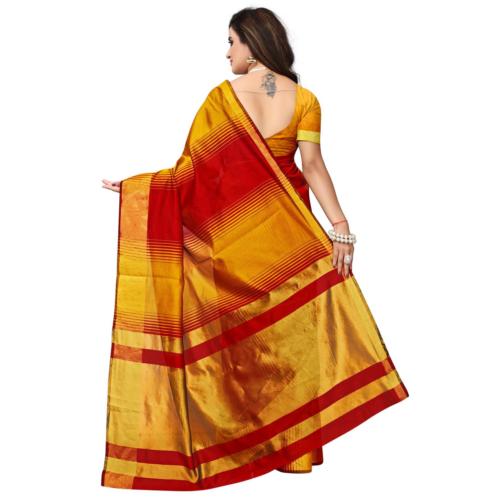 Radiant Yellow - Red Colored Festive Wear Woven Tussar Silk Saree